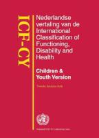 ICF-CY - Nederlandse vertaling van de International Classification of Functioning, Disability and Health, Children & Youth Version